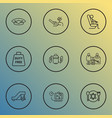 traveling icons line style set with duty free zone vector image vector image