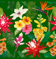 tropical flowers seamless pattern summer floral vector image vector image