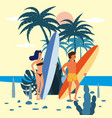 women and men surfers characters with surfboard in vector image