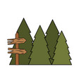 wooden arrow guide label with pines trees vector image