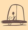 Flat Design Retro Man Driving Car vector image