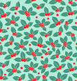 Holly berry flat seamless pattern vector image