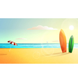 sunny summer beach panorama Surfing vector image