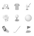 a golfer a ball a club and other golf attributes vector image vector image