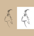 african woman portait digital sketch hand vector image
