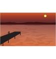 At Sunset pier silhouette scenery vector image vector image