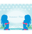 banner with beautiful women silhouettes vector image vector image