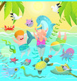 beach vacations for children in tropical paradise vector image vector image