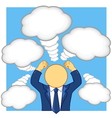 businessman arm lift in convey emotions and thinki vector image vector image