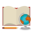 cartoon book open globe pencil design vector image