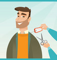 caucasian man cutting price tag off new jacket vector image vector image