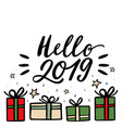 christmas gifts and hello 2019 lettering greeting vector image