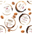 Coffee stains with type designs seamless pattern vector image