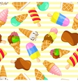 Colorful pastel pattern of ice cream on a striped vector image vector image