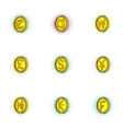 Currency icons set pop-art style vector image vector image