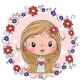 cute girl on a flowers background vector image