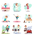 Daily Routine set with cute girl vector image vector image