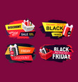 discounts on black friday promotional icons set vector image vector image