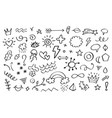 doodle elements arrows flowers leaves and stars vector image