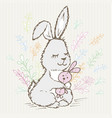 doodle rabbit little hugs a hare toy and around vector image vector image