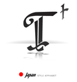 English alphabet in Japanese style - T vector image