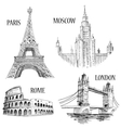 European cities symbols sketch vector | Price: 1 Credit (USD $1)