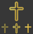 Golden line cross logo design set vector image vector image