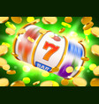 golden slot machine with flying golden coins wins vector image vector image