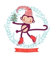 Hello winter concept card with monkey - symbol of vector image vector image