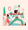 home young couplr yoga sport meditation vector image vector image
