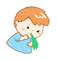 ill boy vomiting cartoon vector image vector image