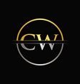 initial gold and silver color cw letter logo vector image vector image