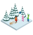 Isometric kids playing outdoors in winter vector image vector image