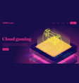 isometric neon gamepad and cloud server game vector image vector image