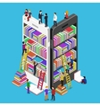 Isometric online mobile library vector image vector image