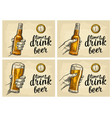 male hand holding bottle beer and antique pocket vector image vector image