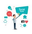 man bubble speech smartphone social media vector image vector image