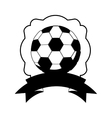 monochrome frame with soccer ball and ribbon vector image vector image