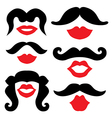 Mustache and lips vector image vector image