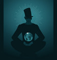 mysterious silhouette man in top hat with the vector image vector image