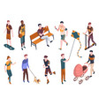 people in park isometric different vector image
