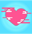 pink heart and cloud on blue background vector image vector image