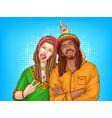 pop art rastafarian couple - man woman vector image vector image