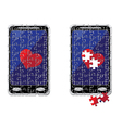 puzzle smart phone and heart vector image vector image