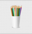 realistic blank plastic cup-stand icon with vector image