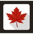 Red maple leaf icon in flat style vector image vector image