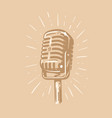 retro microphone with ray sketch style vector image