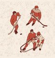 retro set hockey player and seamless pattern vector image vector image