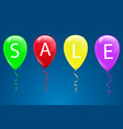sale word on red balloons on blue wall background vector image
