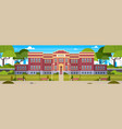 school building and empty front yard with green vector image vector image